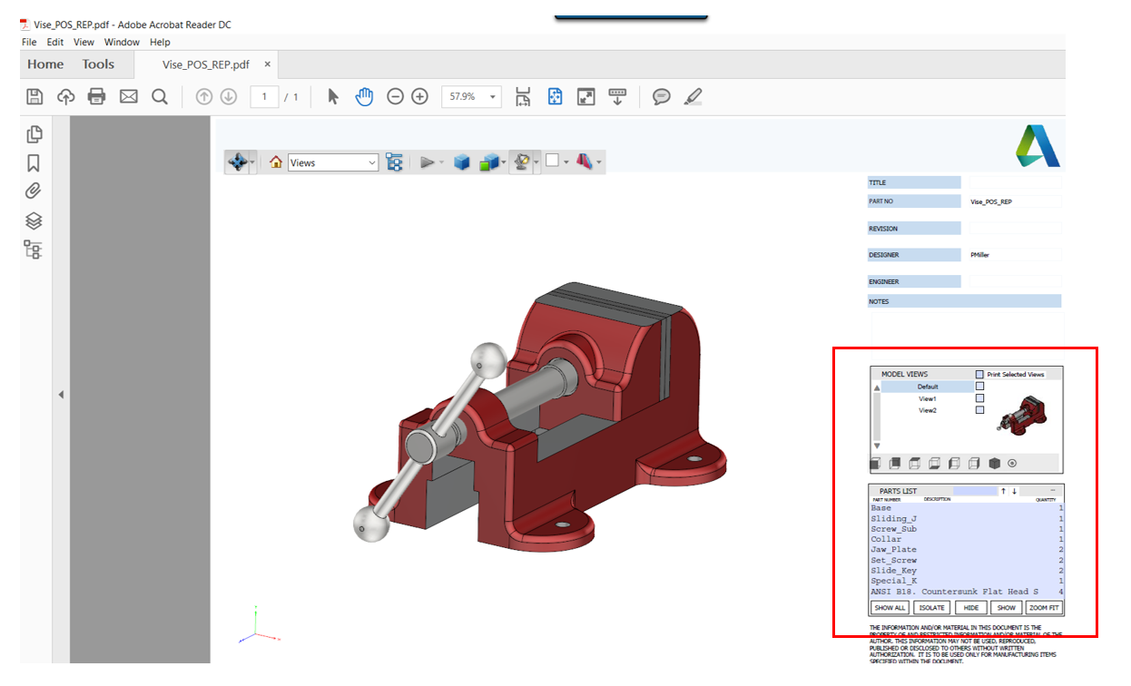 Inventor Exporting Parts & Assemblies -Vise